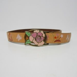 Gap butterfly & flower enamel tooled leather belt
